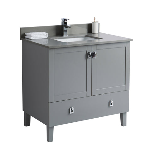 36 inch Bathroom Cabinet with Grey Countertop