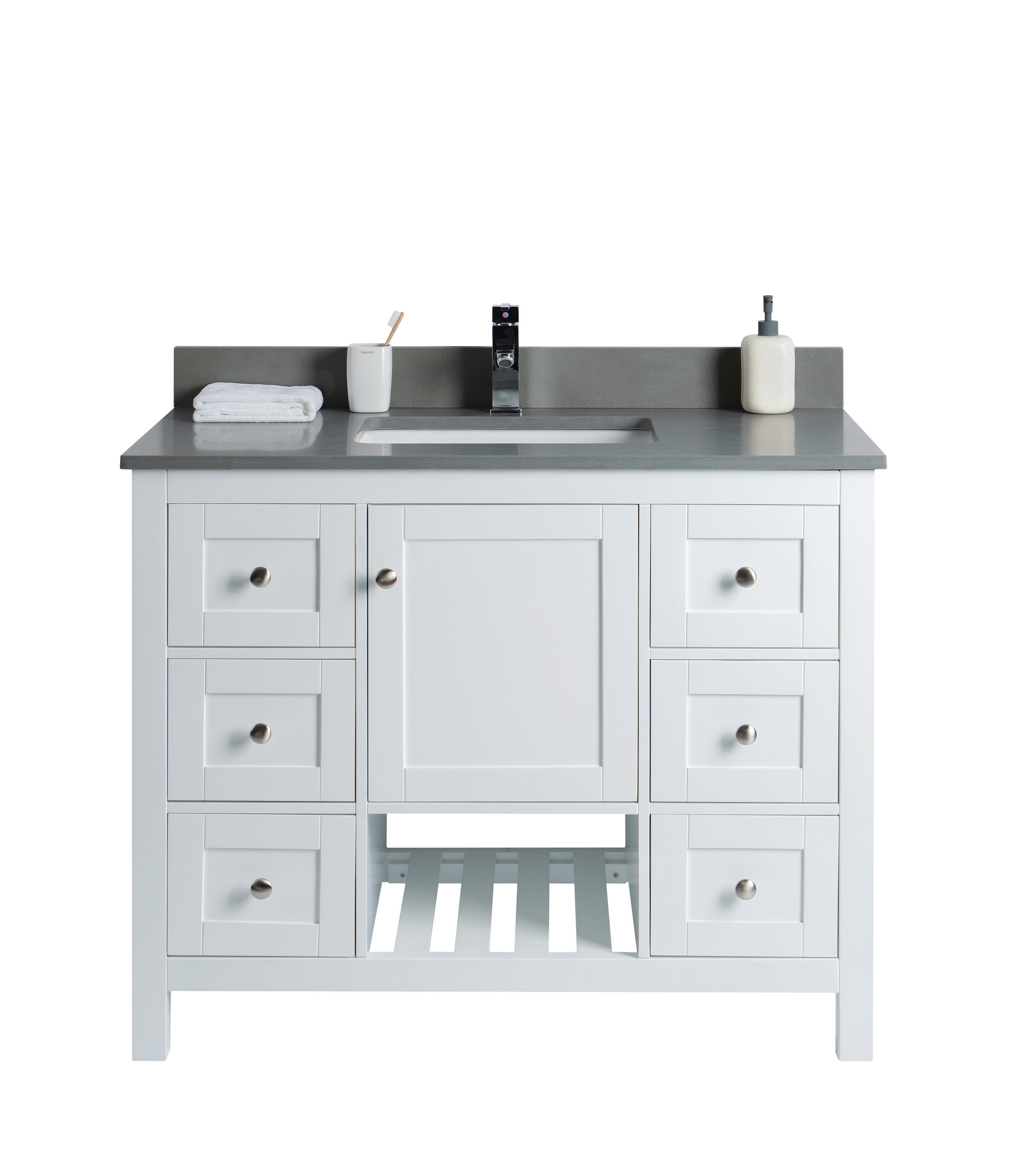 Taiya Bathroom Vanity In Toga White 42 Inch Currently Out Of Stock Broadway Vanities