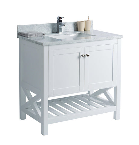 White Bathroom Vanity with Open Shelf
