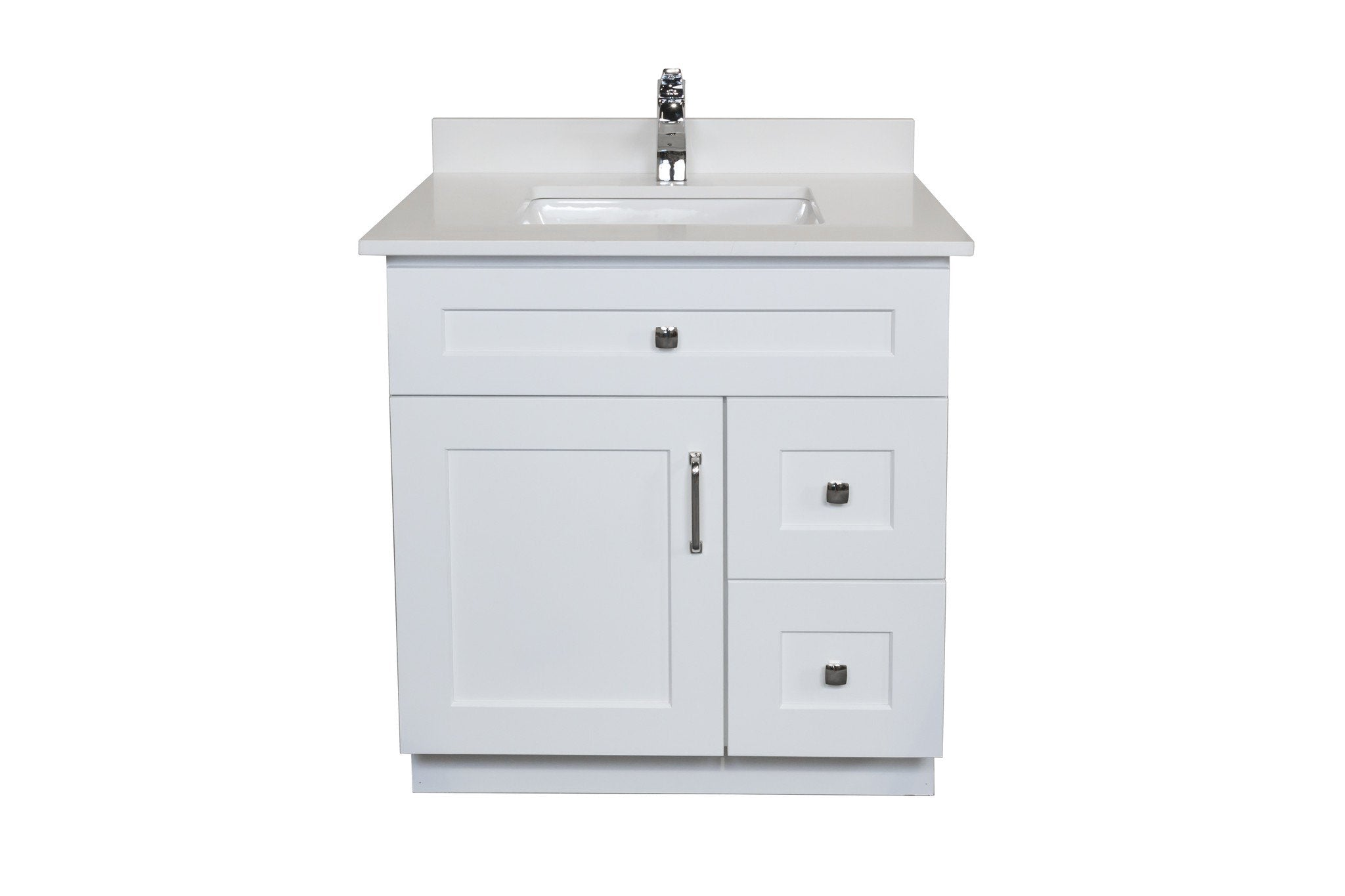 30 ̎ Maple Wood Bathroom Vanity in White - Combo – Broadway Vanities