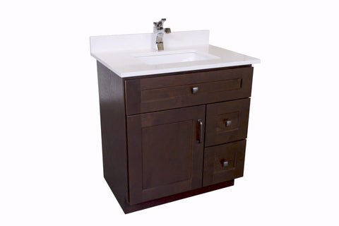 30-inch Vanity Cabinet with White Quartz Countertop