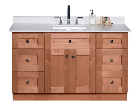 54 ̎  Single Sink Maple Wood Bathroom Vanity in Almond