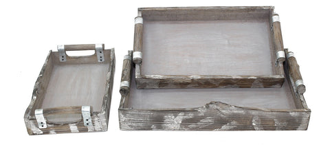 Rustic Grey Wash Wood Tray