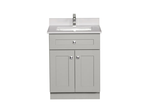 Grey Bathroom Cabinet with White Quartz Countertop
