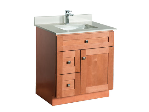 30 ̎ Maple Wood Bathroom Vanity in Almond - Combo