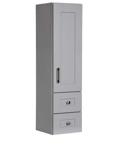 Grey Bathroom Linen Cabinet with Wood Door and Drawers