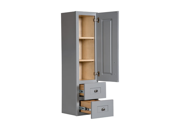 Grey Linen Cabinet With Wood Door Semi Custom Collection Broadway Vanities