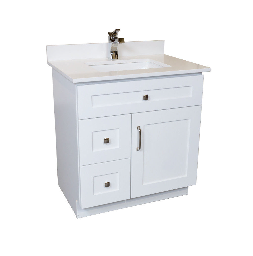 30 ̎ Maple Wood Bathroom Vanity in White - Combo ...