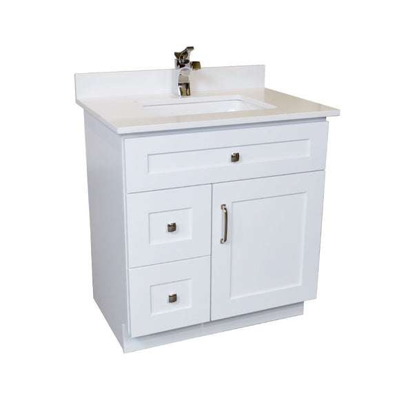 30 ̎ Maple Wood Bathroom Vanity In White Combo
