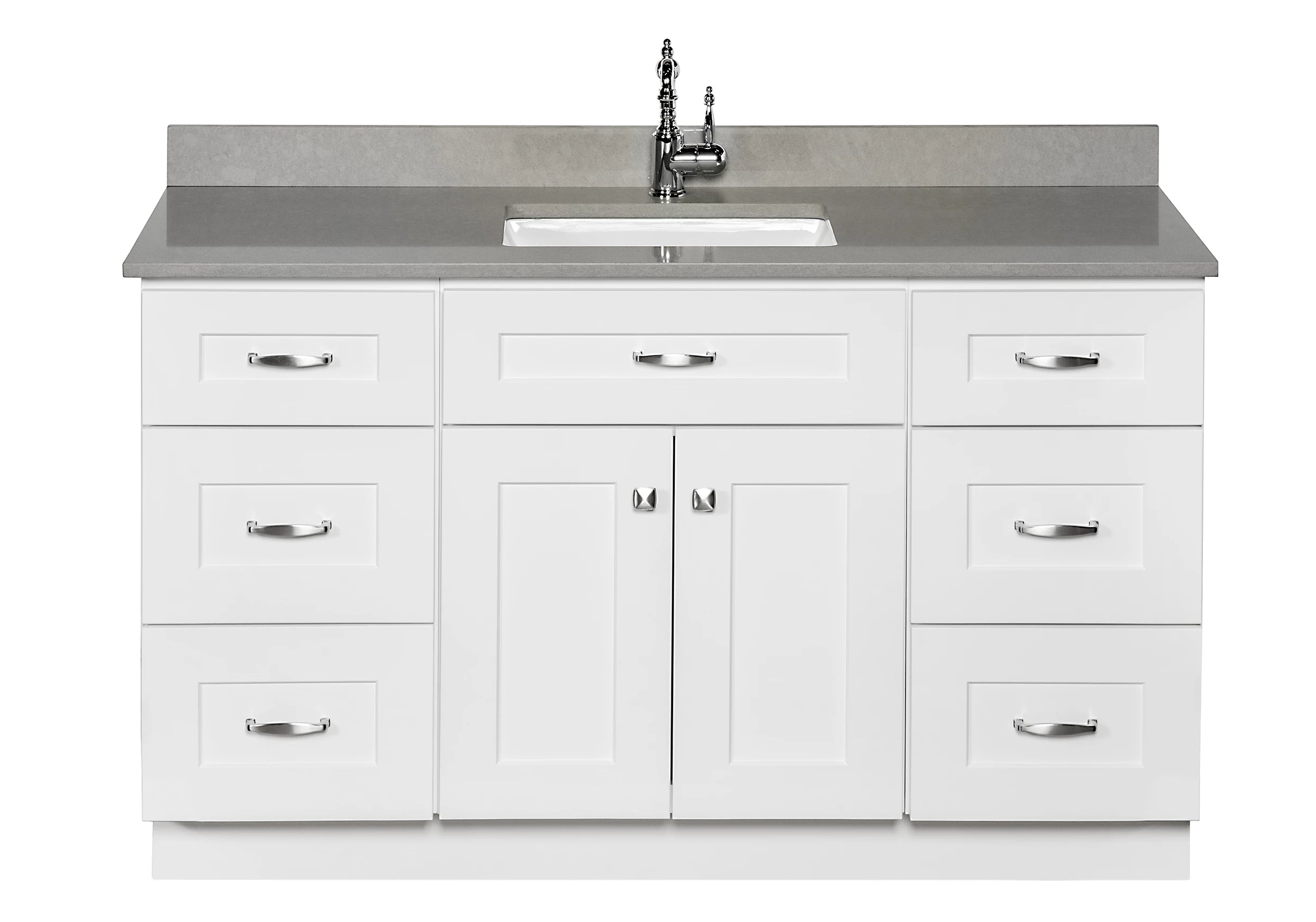 54 ̎ single sink maple wood bathroom vanity in white