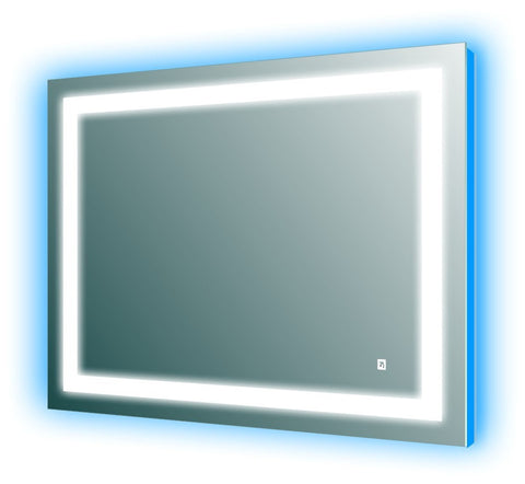LED Wall Mirror with Blue Light Accent for Bathroom