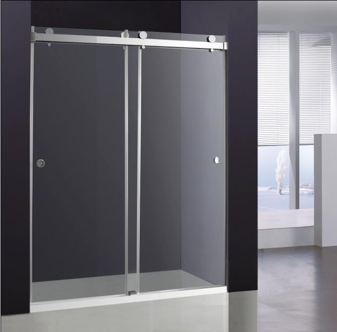 Double sliding glass shower door broadway vanities for Double sliding doors