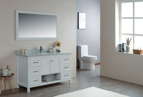 "59"" Taiya Bathroom Vanity in Toga White"
