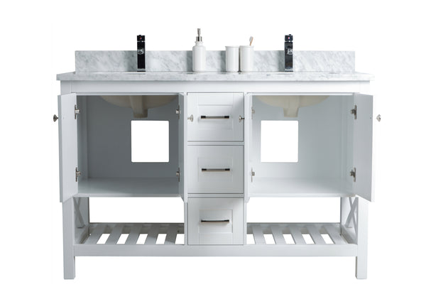 54 Quot Taiya Bathroom Vanity In Toga White Double Sink