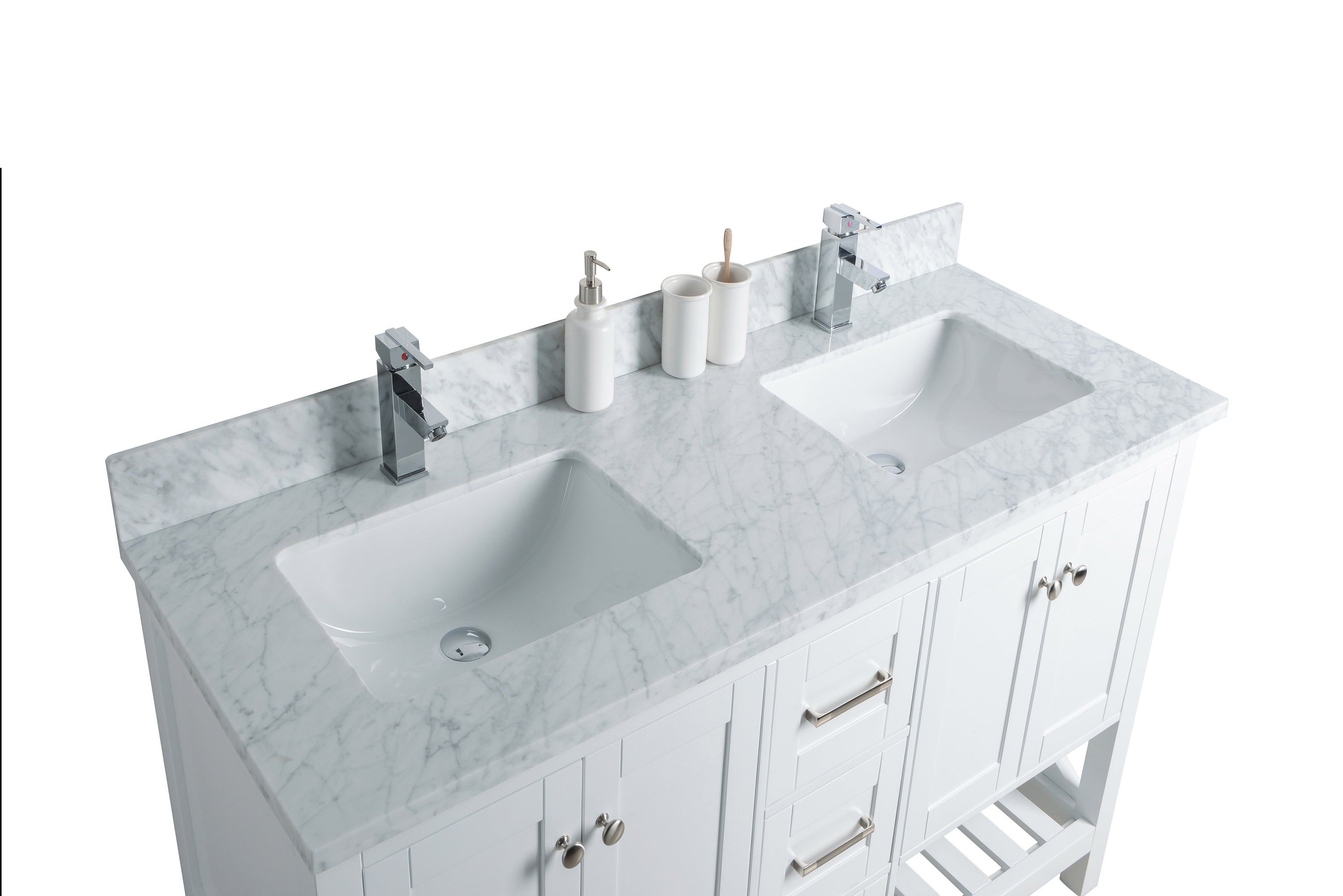 54 Taiya Bathroom Vanity In Toga White Double Sink Broadway Vanities