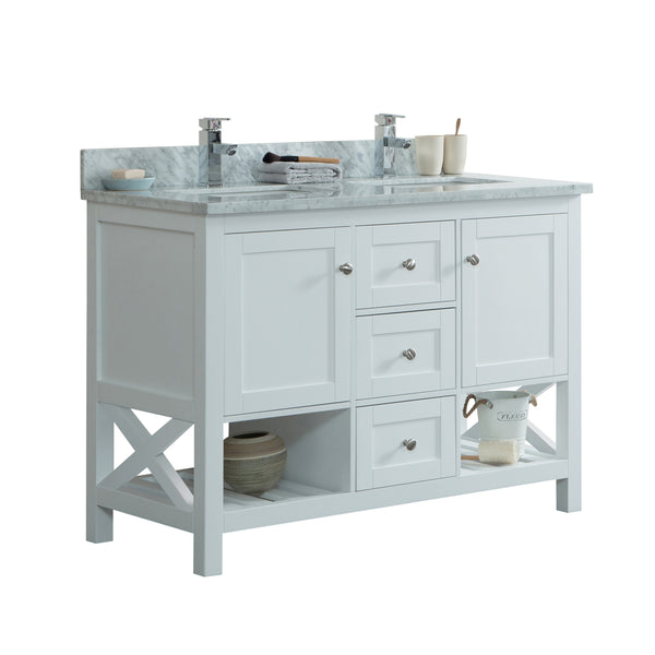 48 Quot Taiya Bathroom Vanity In Toga White Double Sink