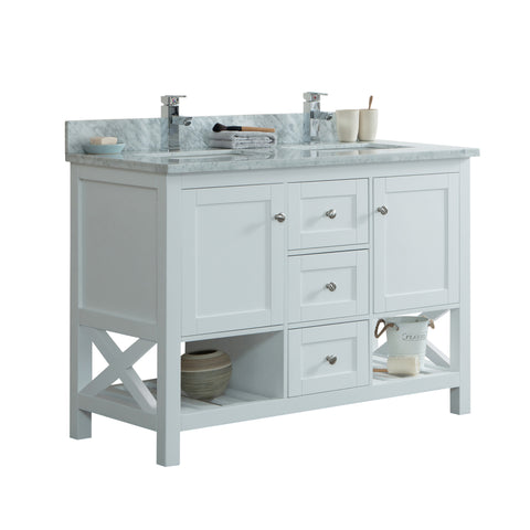 "48"" Taiya Bathroom Vanity in Toga White  - Double Sink"