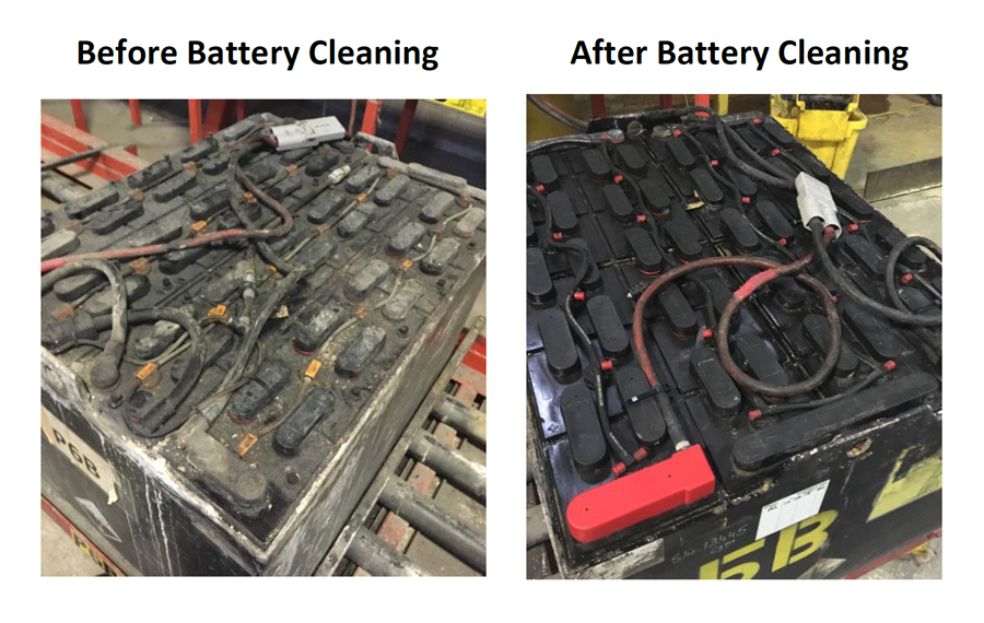 before and after cleaning battery