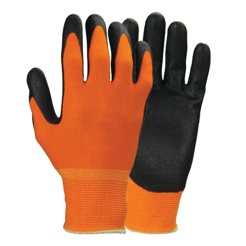 Orange Polyester Work Gloves with Polyurethane Coating - Forklift Training Safety Products