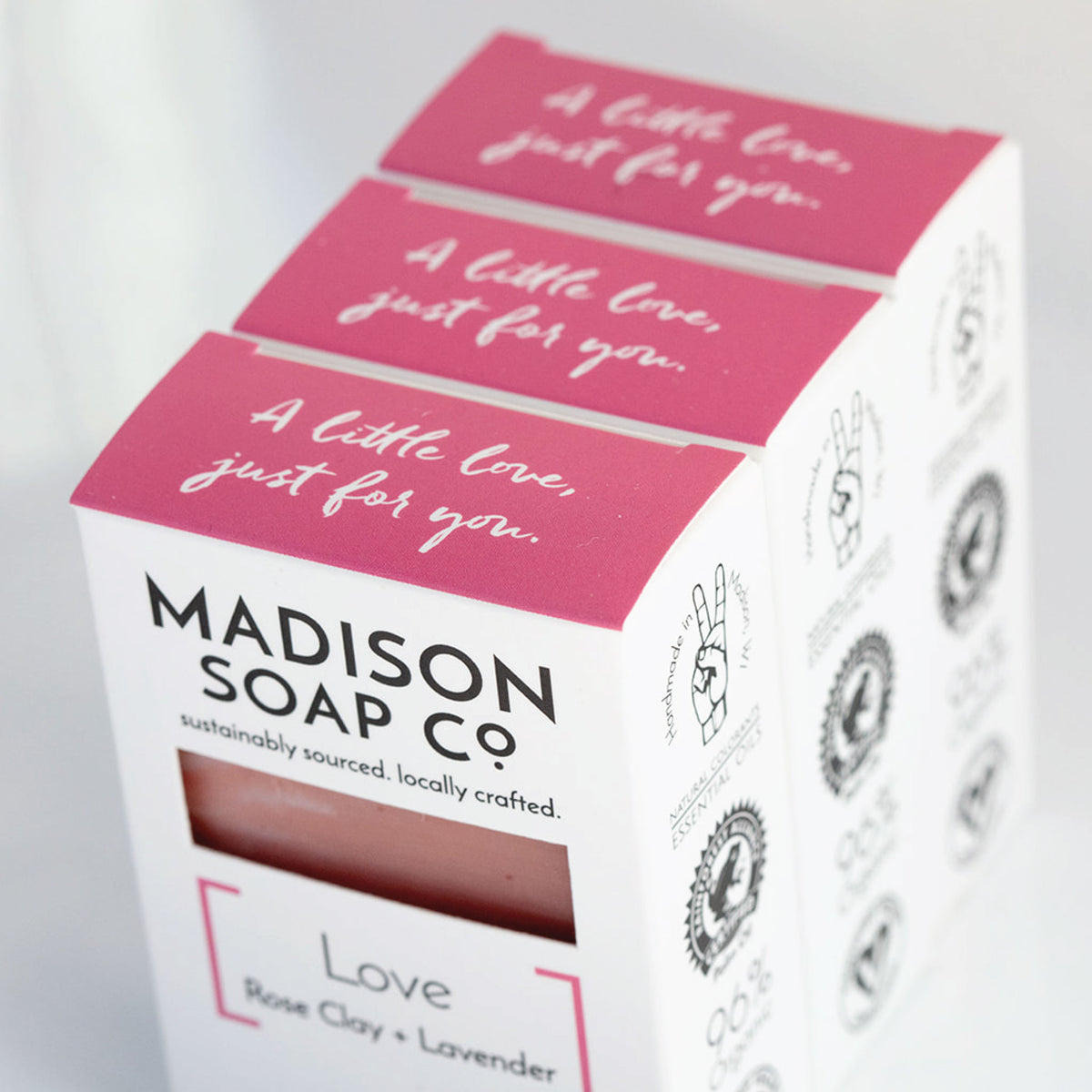 """Love"" Rose Clay + Lavender Bar Soap Soap by Madison Soap Company from Madison Soap Company"