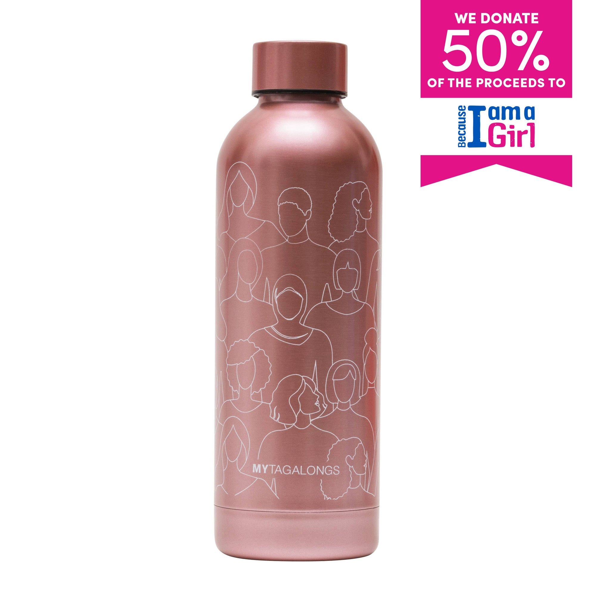 WATER BOTTLE - BECAUSE I AM A GIRL PINK Dim Gray MYTAGALONGS