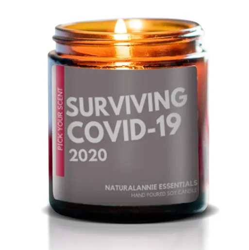 Soy Candle, Surviving COVID-19 Candle Dim Gray Annies Naturals