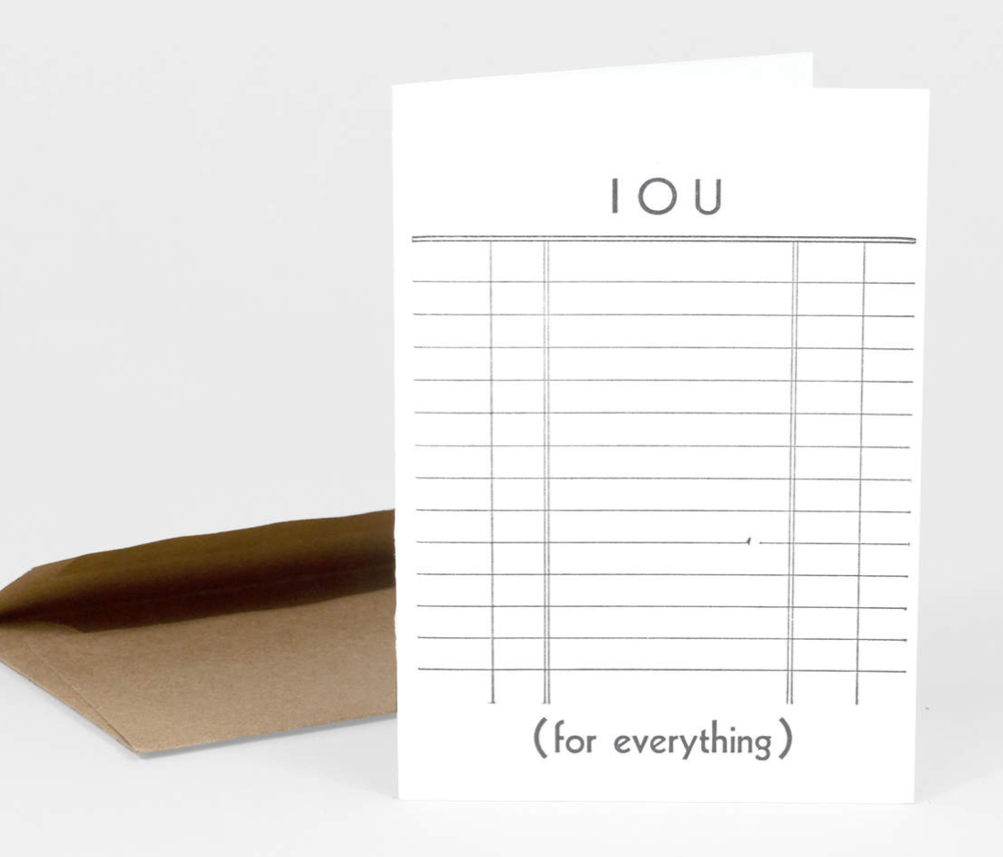 """IOU"" Card Card by Etc. Letterpress from Madison Soap Company"