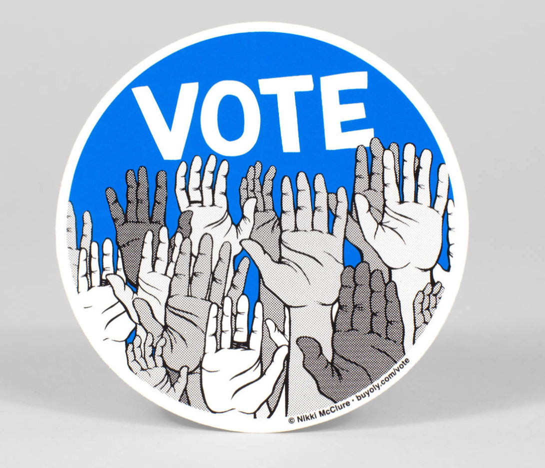 """Vote!"" Sticker Sticker by Nikki McClure from Madison Soap Company"