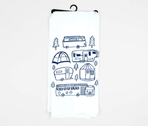 """Camping"" Tea Towel"