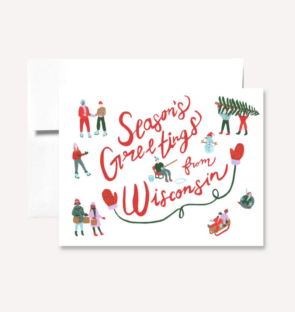 """Seasons Greetings from Wisconsin"" Card Card by Persika Design Co from Madison Soap Company"