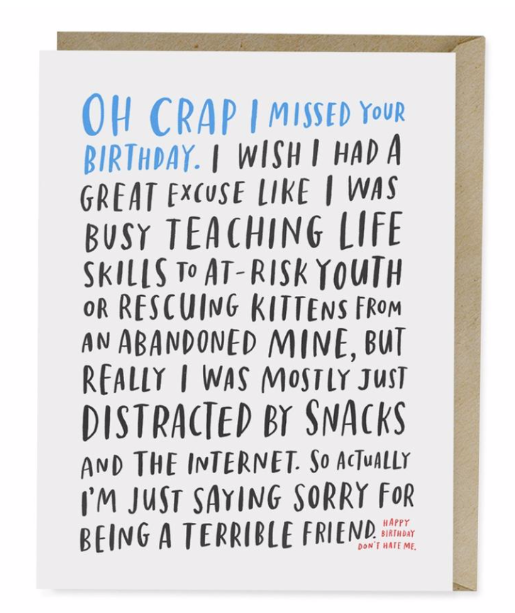 Awkward Belated Birthday Card Card by Emily McDowell from Madison Soap Company