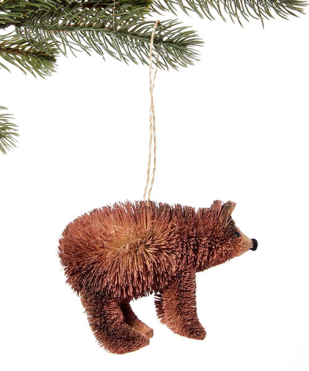 Bottle Brush Bear Ornament Saddle Brown Silk Road Bazaar