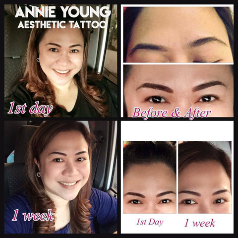 Smiling woman before and after picture awesome eyebrow tattoo work