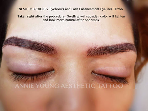 Woman's eyebrow semi embroidery lash enhancement eyeliner tattoo