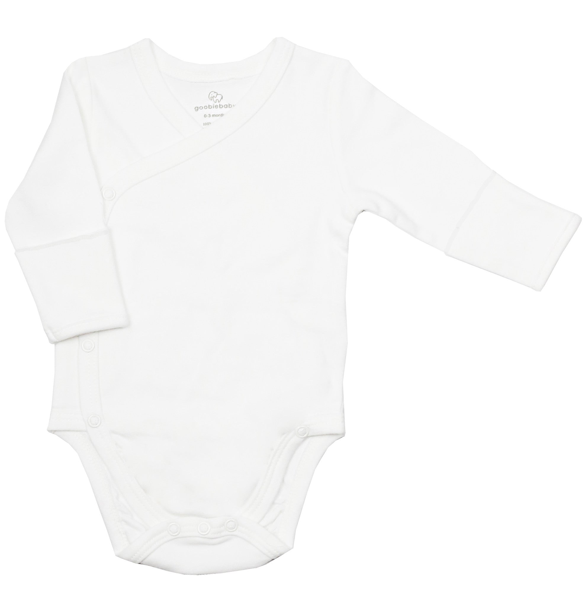 Long Sleeve Side Snap Bodysuits - White