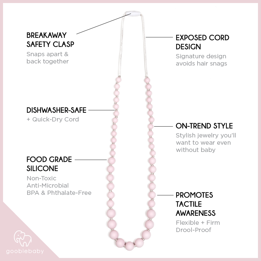 Audrey Teething Necklace - Pink Quartz
