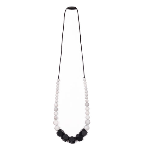 Zoe Teething Necklace - Black/Marble