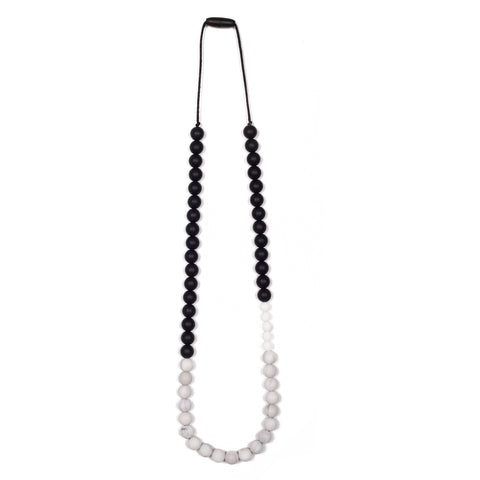 Sophie Teething Necklace - Black/Marble/White