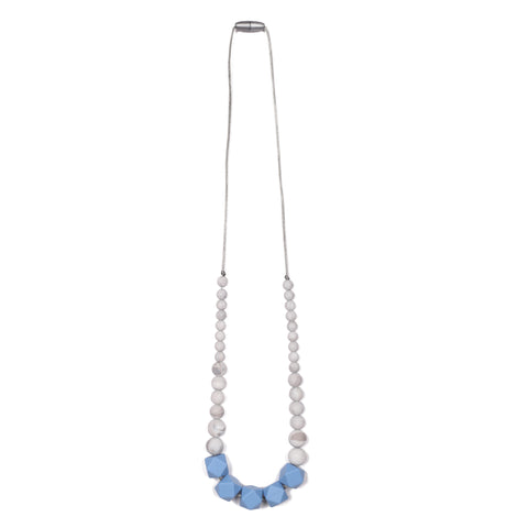 Madison Teething Necklace - Light Blue/Marble