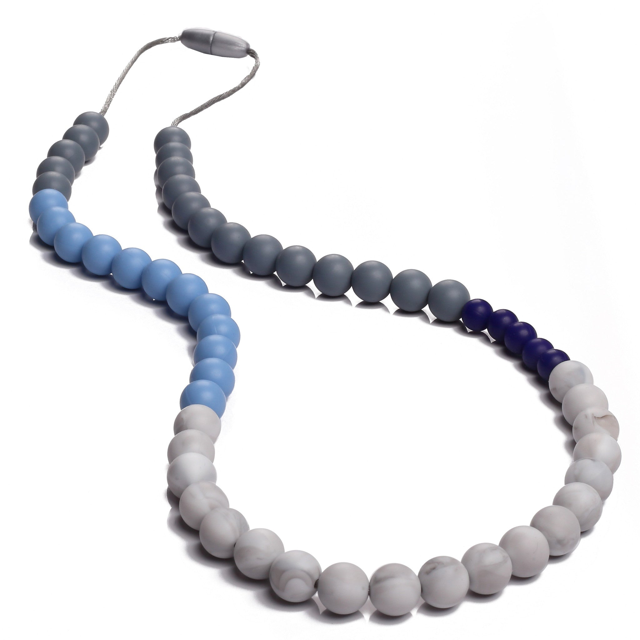 Sophie Teething Necklace - Blue/Gray/Marble