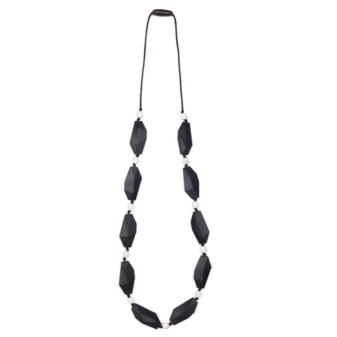 Naomi Teething Necklace - Black/Marble