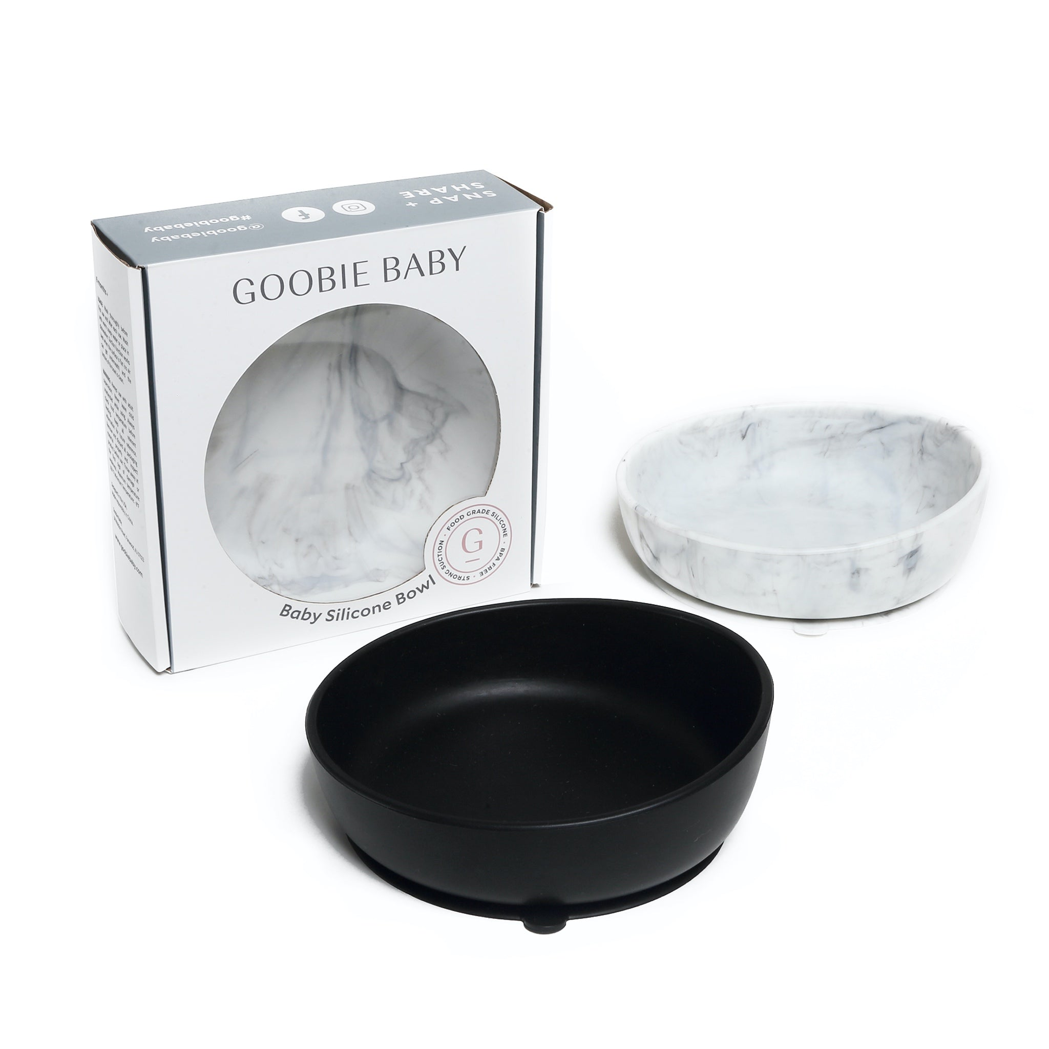 Silicone Baby Bowl Set - Black & Marble