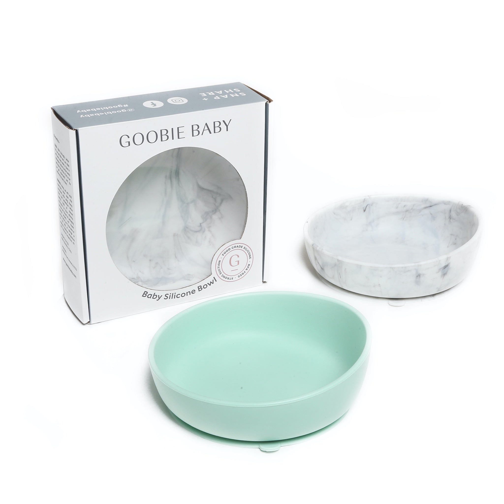 Baby Silicone Bowl Set - Mint & Marble