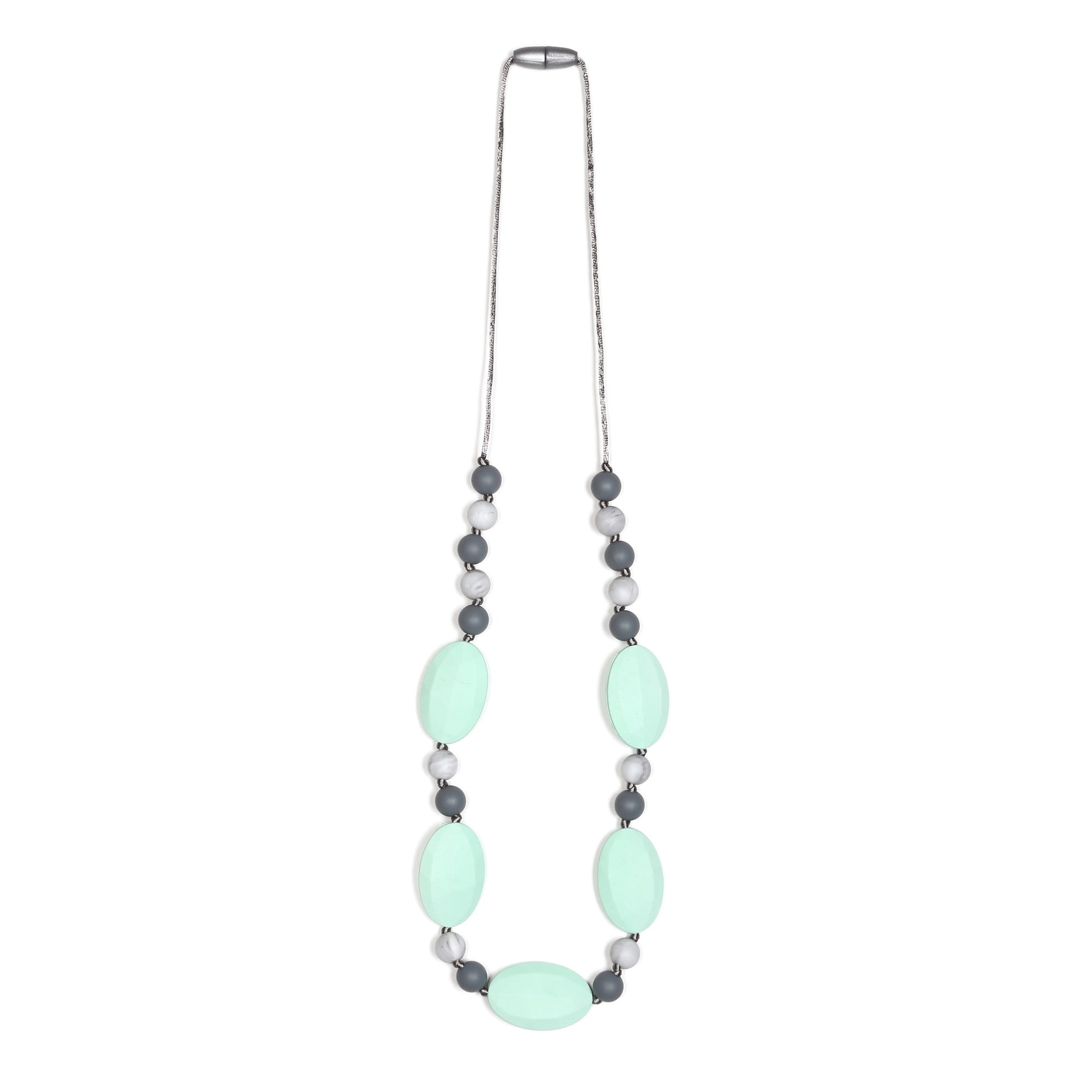 Emma Teething Necklace - Mint/Marble/Gray