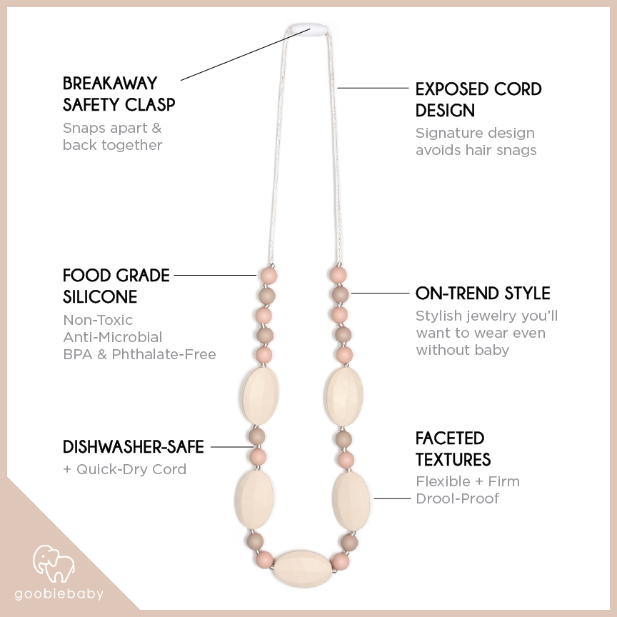 Emma Teething Necklace - Peach/Cream/Oatmeal
