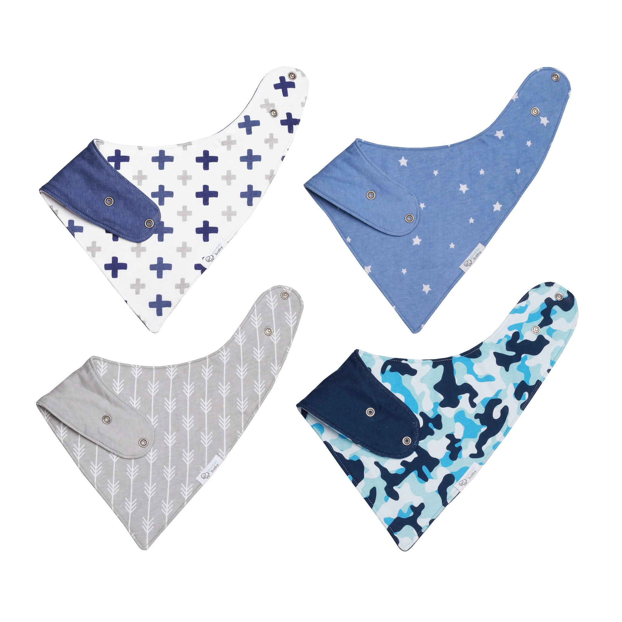 Reversible & Waterproof Cotton Baby Bandana Drool Bibs - Blue/Grey Camo