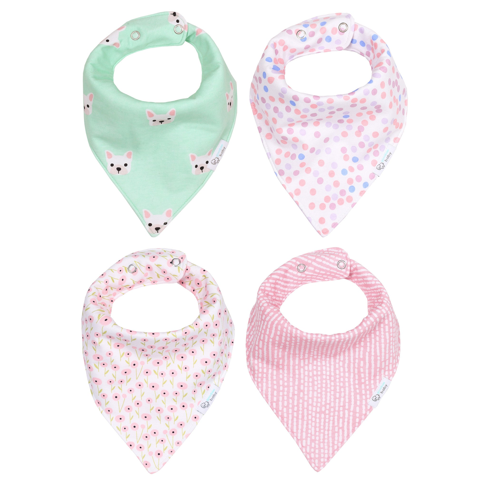 Reversible & Waterproof Cotton Baby Bandana Drool Bibs - Mint/Pink Puppy