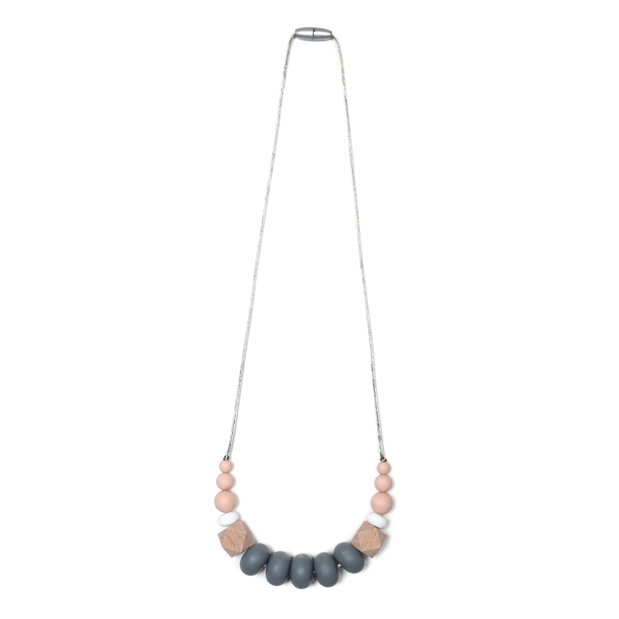 Harper Teething Necklace - Peach/Gray