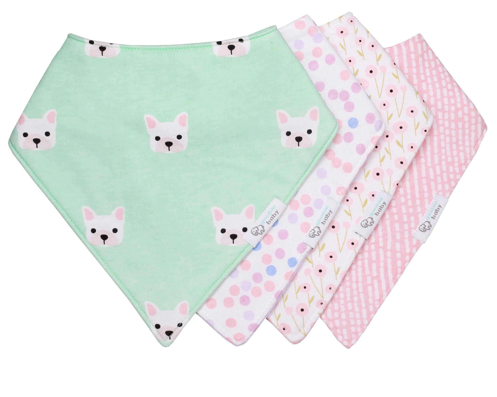 Reversible & Waterproof Cotton Bandana Bibs - Mint/Pink Puppy