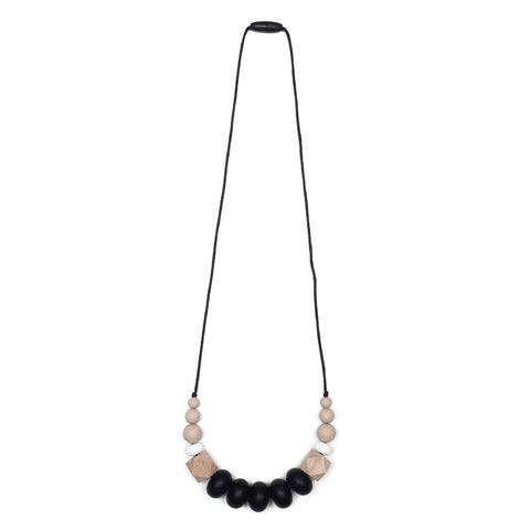 Emma Teething Necklace - Quartz Pink/Marble/Gray